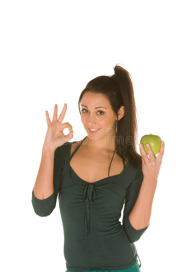 Free Young Woman With Granny Smith Apple Stock Photography - 13583322