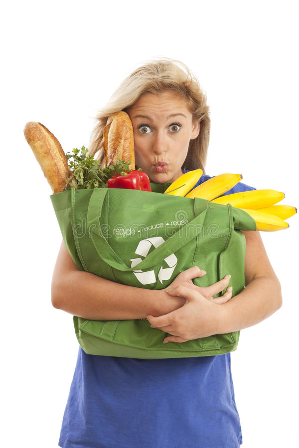 Free Young Woman With Green Recycled Grocery Bag Stock Photos - 15864443