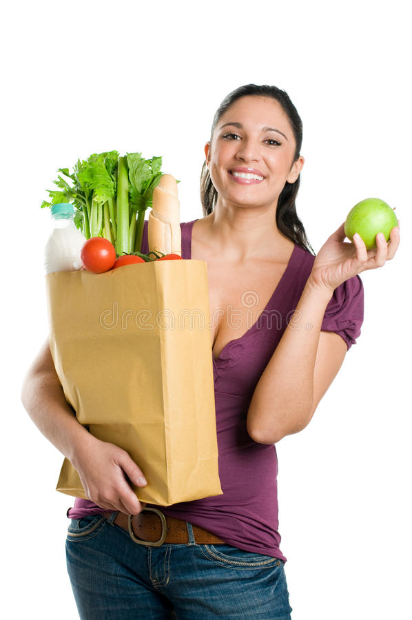 Free Young Woman With Grocery Bag And Green Apple Stock Photo - 14052850