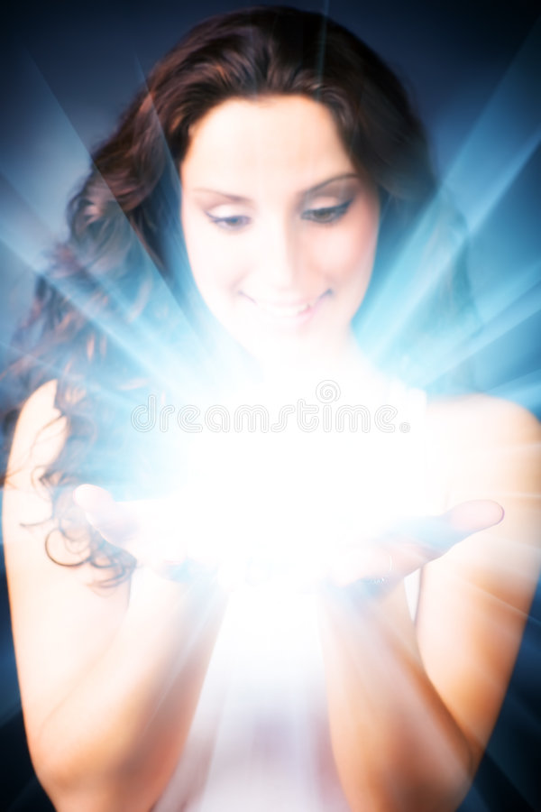 Free Young Woman With Magic Shine In Hands Stock Photo - 7643120