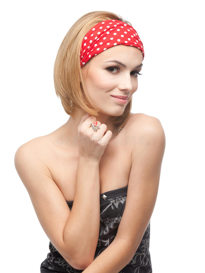 Free Young Woman With Red Headband Royalty Free Stock Photo - 16717995