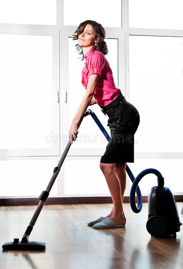 Free Young Woman With Vacuum Cleaner Stock Image - 30388071