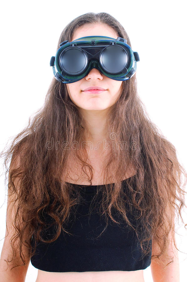 Young woman worker with goggles stock images