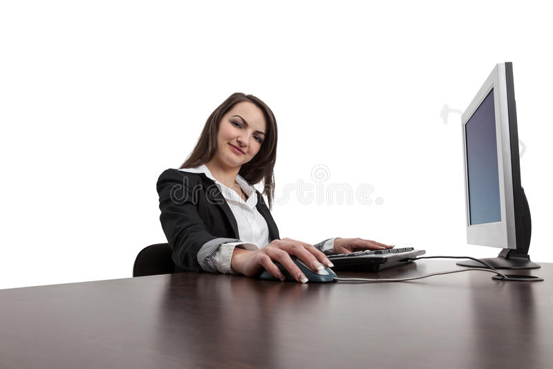 Download Young Woman Working On A Computer Stock Image - Image: 25454255