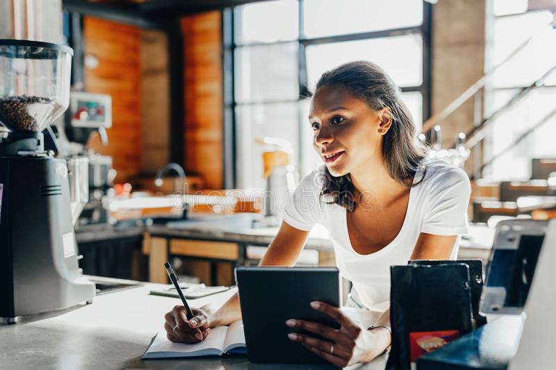 Young woman working stock images