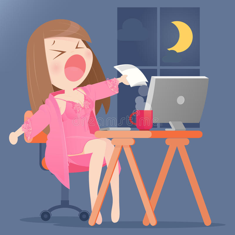 A young woman working. On her computer in her home at night royalty free illustration