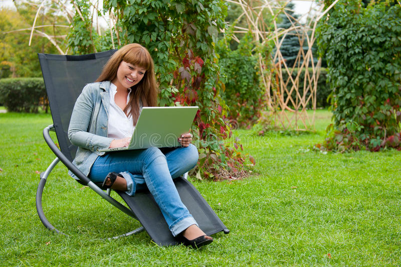 Download Young Woman Working On Laptop Stock Image - Image: 21106537