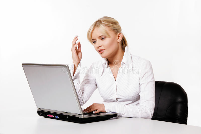 Young Woman Working With Laptop Royalty Free Stock Image