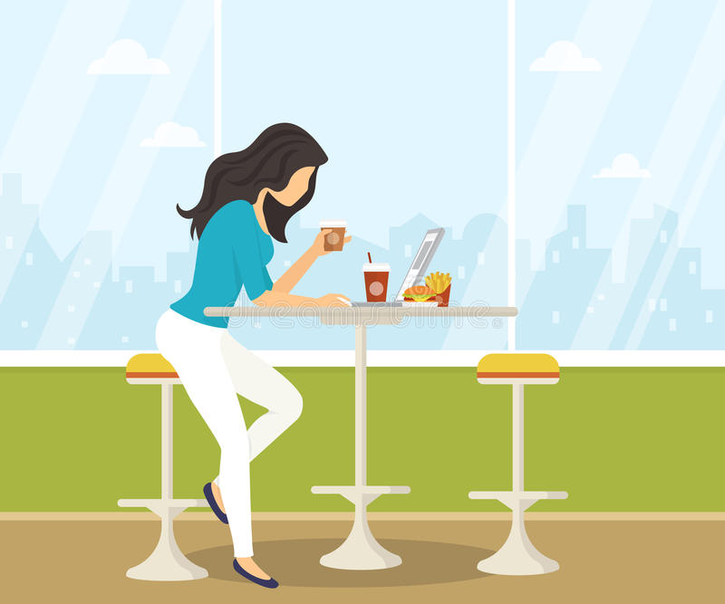 Young woman working with laptop in student cafe. Young woman working with laptop, eating burger and drinking coffee in student cafe. Flat illustration of stock illustration