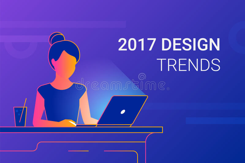 Young woman working with laptop at work desk. Modern gradient line vector illustration of designer or student interesting in 2017 design trends at workdesk vector illustration