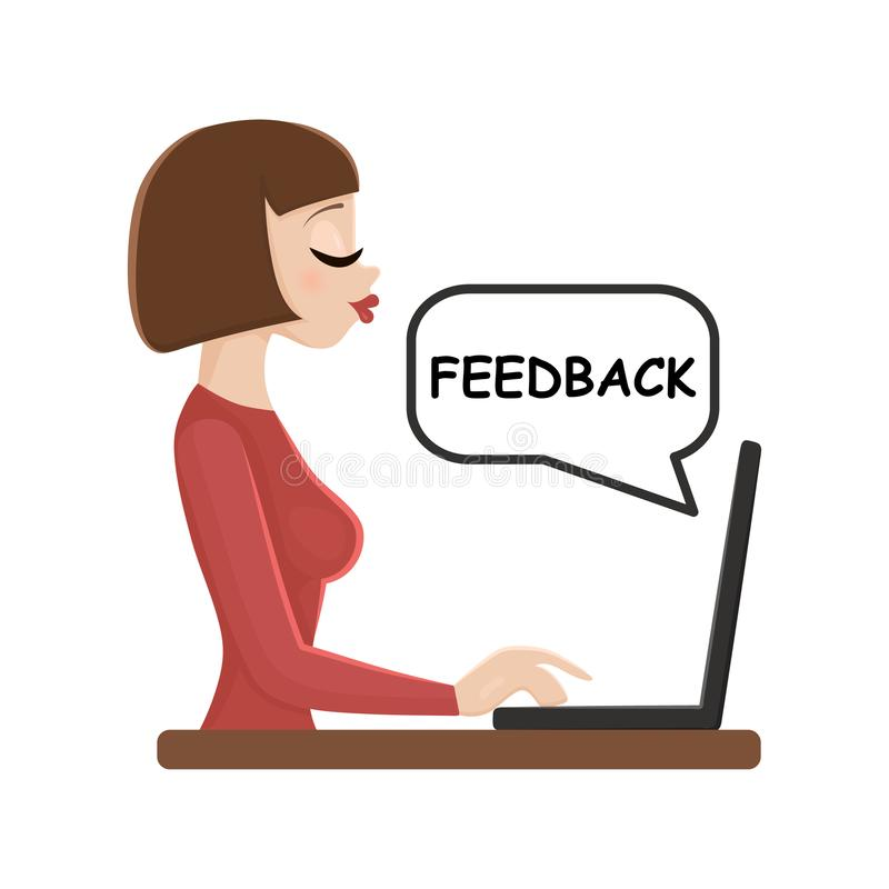 Young woman working with laptop wtitting feedback. royalty free stock photo