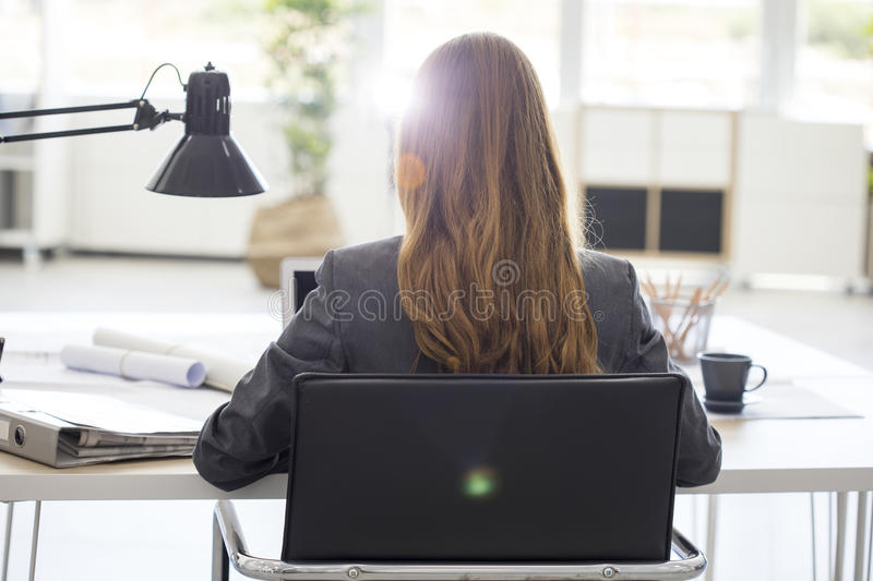 Young woman working in office royalty free stock photo