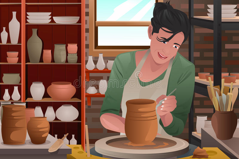 Young woman working on a pottery royalty free illustration