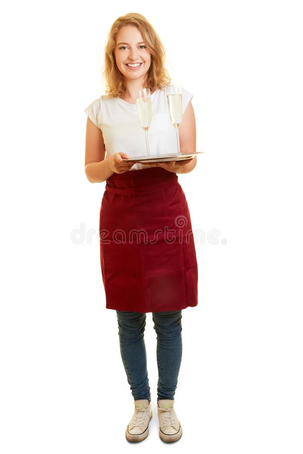 Woman works as a waitress in gastronomy royalty free stock photos