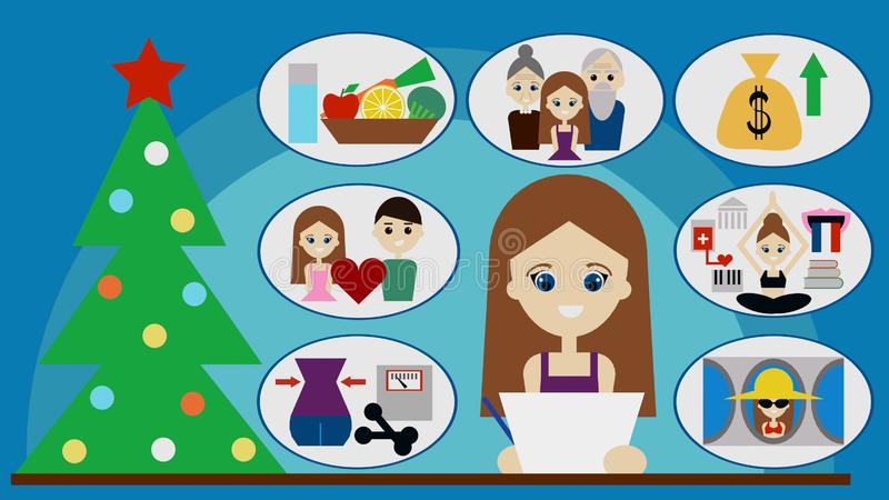Young woman writes her New Years resolutions 3D illustration stock illustration