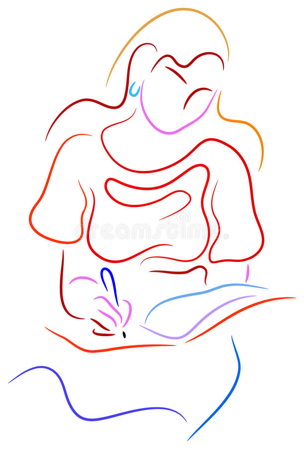 Young woman writing a notebook. Brush stroke line art work royalty free illustration