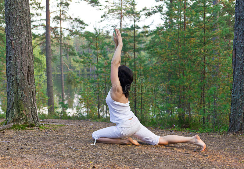 Download Young Woman In Yoga One Legged King Pigeon Pose In The Forest Stock Photo - Image: 28685340