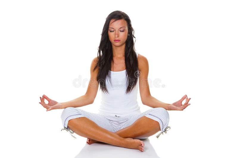 Young woman in yoga training stock image
