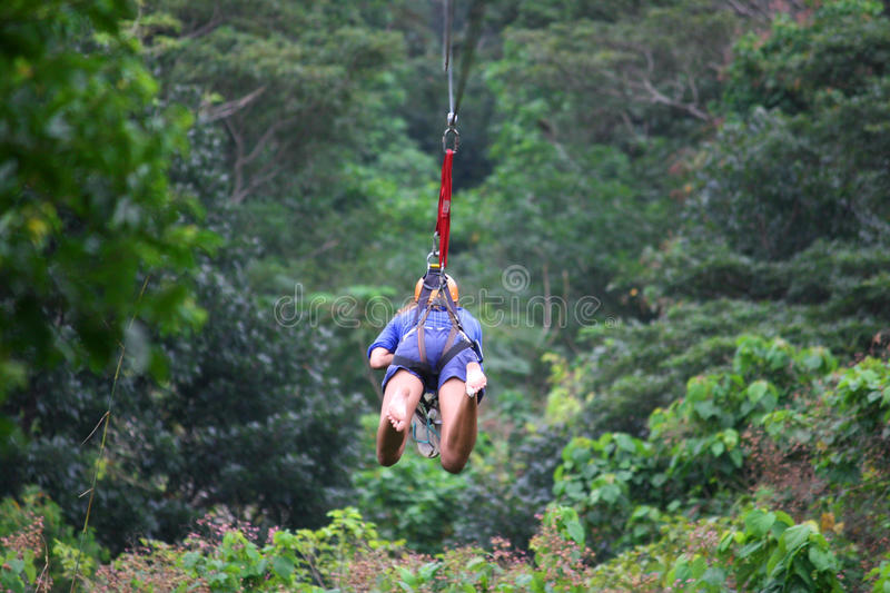 Young woman on zipline above the jungle stock image