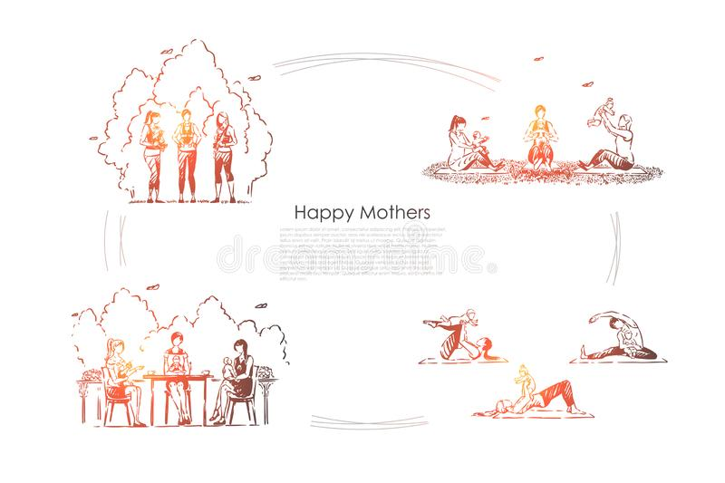 Young women with baby carriers on walk outside, female happiness, outdoor yoga for moms, motherhood banner. Happy mothers, girlfriends holding infants concept stock illustration
