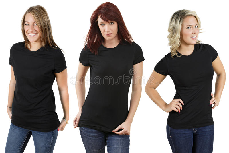 Young women with blank black shirts royalty free stock photography