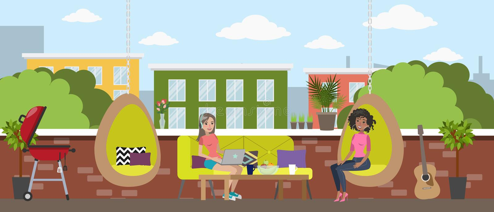 Young women chill out in the office break room royalty free illustration