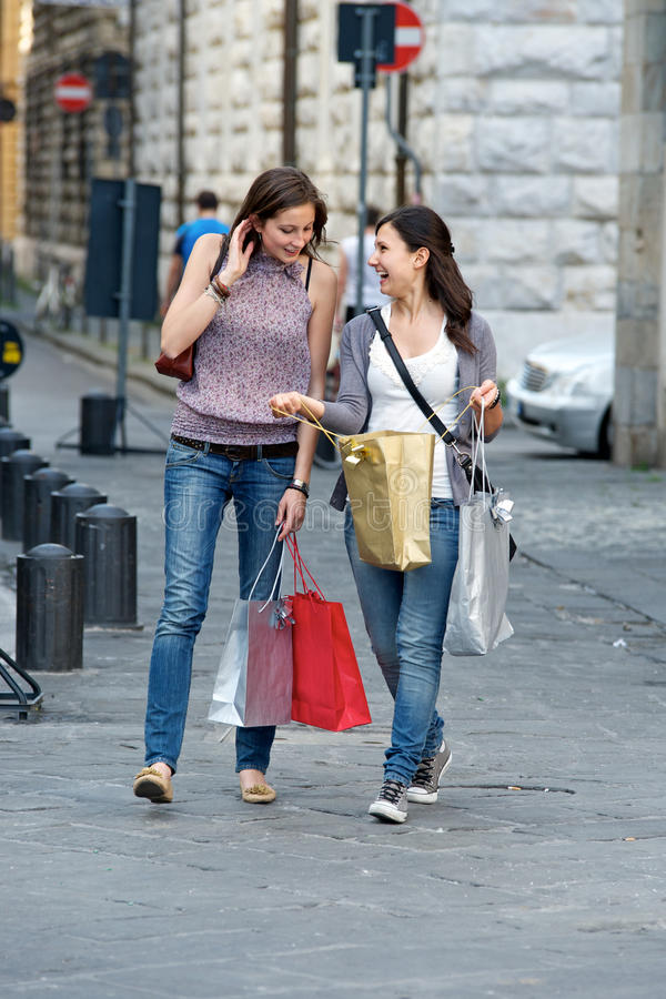 Young Women In The City After Shopping Royalty Free Stock Image