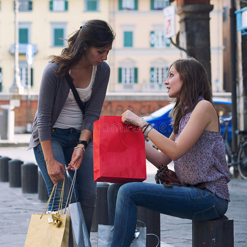 Young Women In The City After Shopping Royalty Free Stock Photography