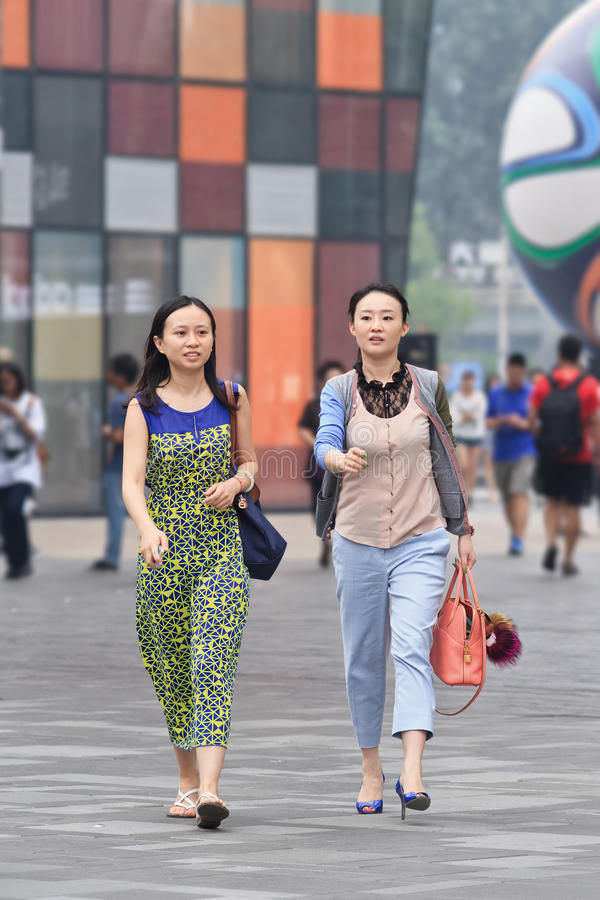 Young women in a commercial area, Beijing, China stock image