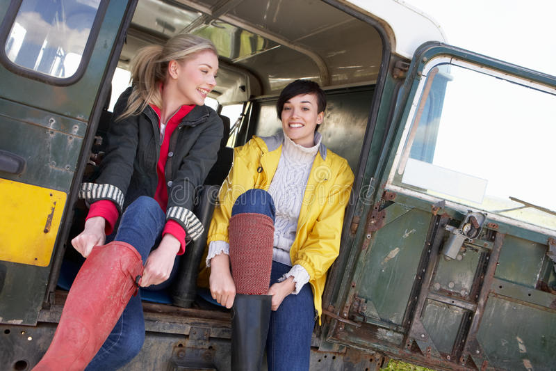 Young women in the country stock photos