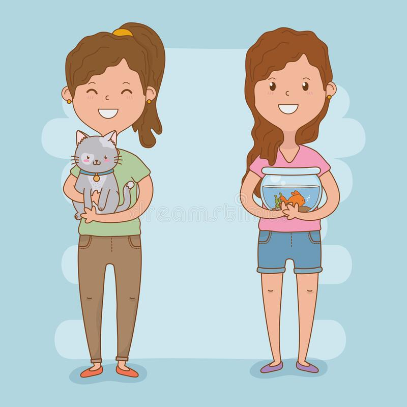 Young women couple with cute mascots. Vector illustration design royalty free illustration