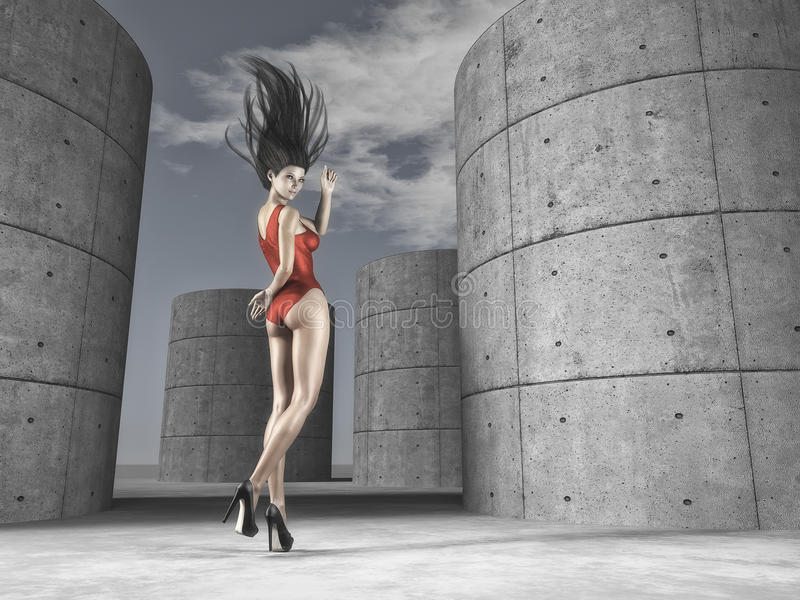 The young women dancing outdoor. Portrait of one attractive woman wearing red sportswear and dancing around pillars. This is a 3d render illustration royalty free illustration