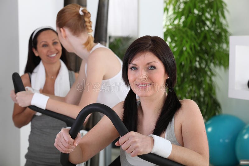 Young women doing fitness stock photography