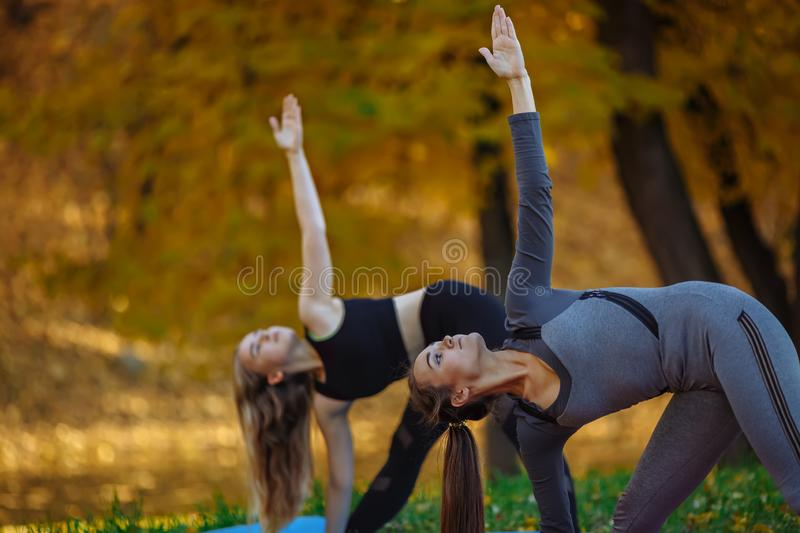 Close up Group of Young women doing yoga exercises in the autumn city park. Health lifestyle concept. royalty free stock photography