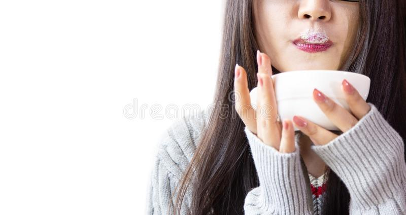 Young women are drinking hot coffee happily royalty free stock photo
