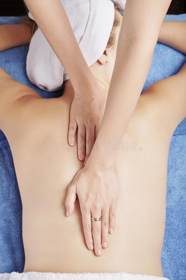 Relaxing back massage royalty free stock photo