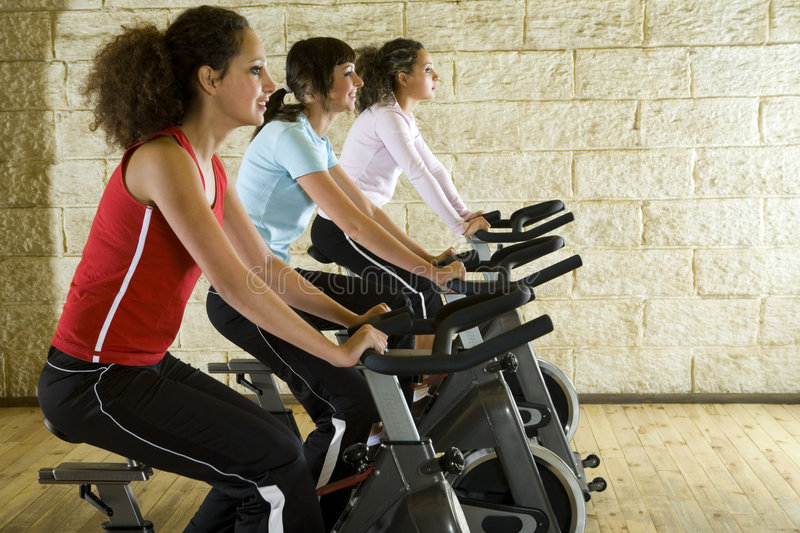 Download Young Women On Exercise Bikes Stock Image - Image: 4240783