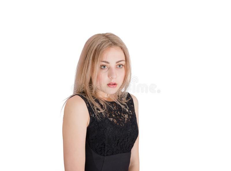 Young women with an expression of confusion or disappointment royalty free stock photography