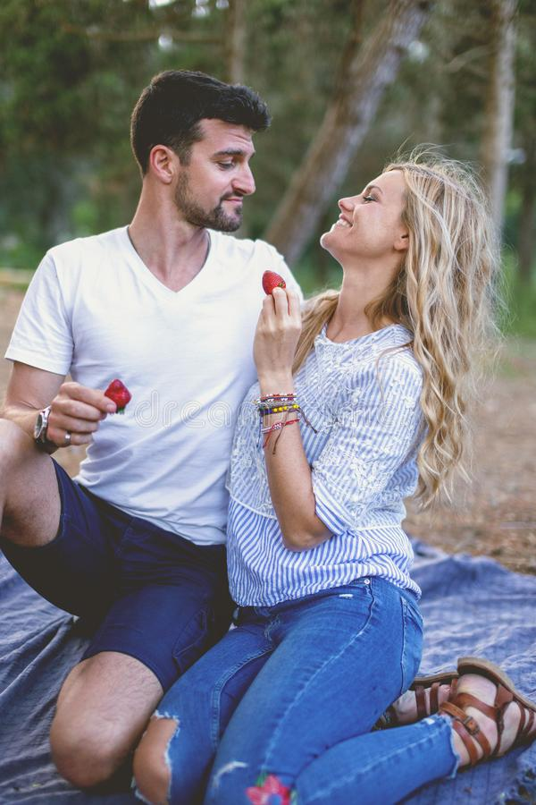 Young woman feeding man with strawberry during picnic royalty free stock image