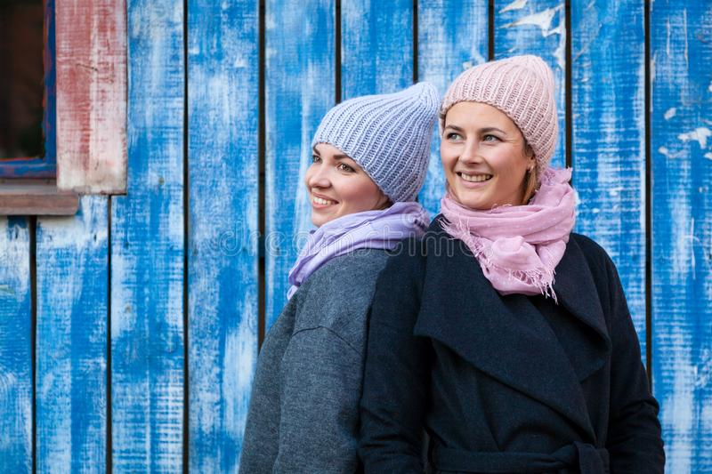 A young friends in a knitted hat stock photography