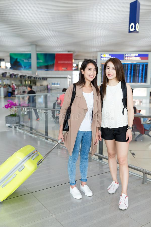 Young women go travel together. Beautiful young asian woman stock images