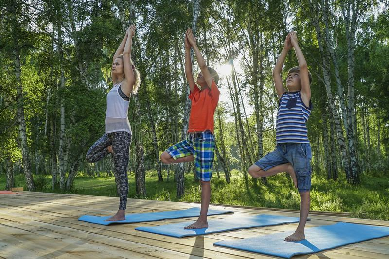 Young woman and kids performing yoga royalty free stock photography