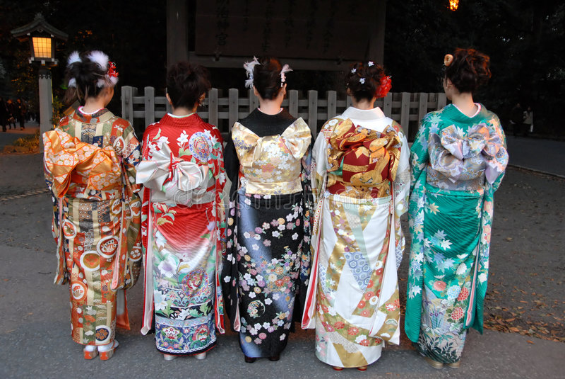 Young women in kimono dress
