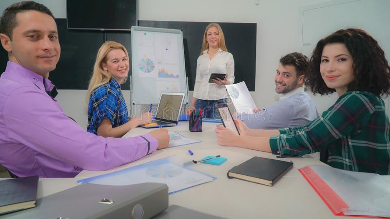 Employees of marketing department on the meeting stock photos