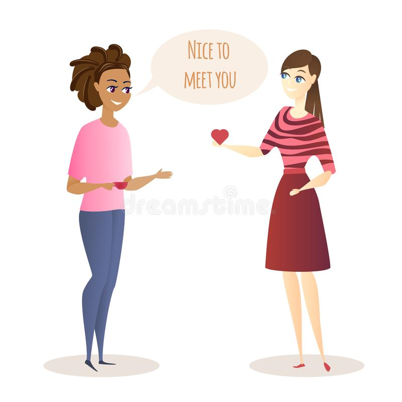 Young Women Meeting and Friendly Conversation. stock illustration