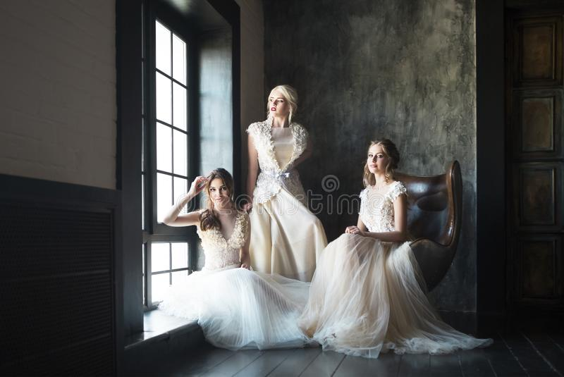 Young women near window wearing wedding dresses royalty free stock photography