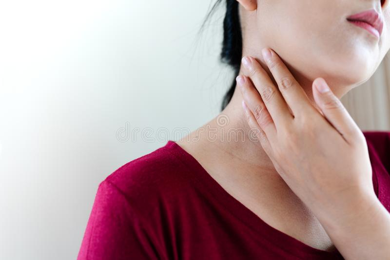 Young women neck and shoulder pain injury, healthcare and medical concept. Young woman neck and shoulder pain injury, healthcare and medical concept stock photo