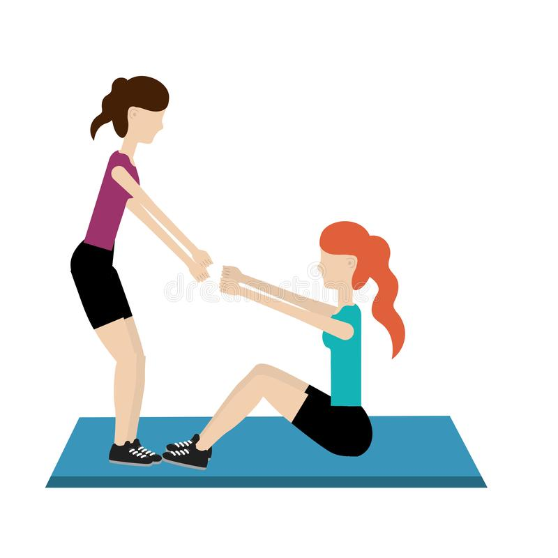 Young women exercising cartoon stock illustration