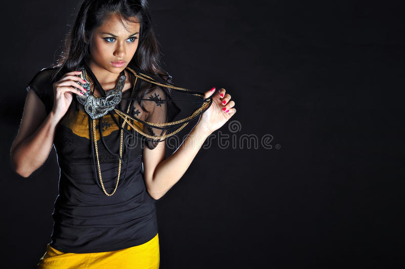 Young Women Posing with Fashion Necklace royalty free stock photo