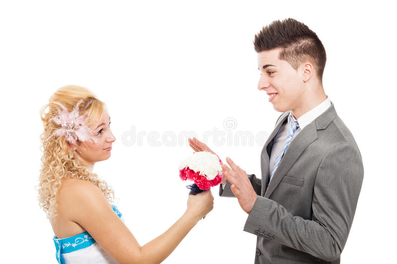 Woman proposing. Young women proposing with bouquet, isolated on white background royalty free stock images